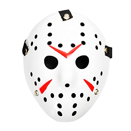 Homelix Horror Kostüm Hockey Jason Maske Halloween Party Cosplay Requisiten (Weiß Rot)