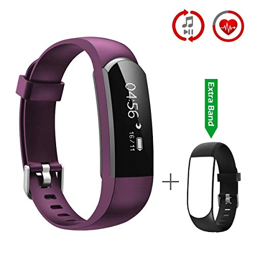CHEREEKI Pulsera Inteligente, Fitness Tracker Monitor de Pulso Cardiaco Deporte Actividad Tracker con Control de Música/Mensaje/ Llamada Telefónica Compatible con Android y iPhone (Púrpura)