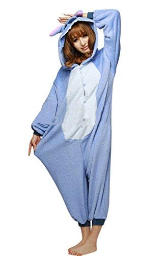 Keral Unisex Pyjama Tierkostüme Schlafanzug Tier Onesize mit Kapuze Erwachsene Overall Kostüm festival tauglich Ente Stich Größe (Stich Kostüme Erwachsene)