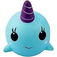 Yojoloin Squishies Balena Squishy Super Jumbo Decompressione Lenta salita Giocattolo Fidget Profumato Rare JUNKE Divertimento, Miglior regalo (blu)