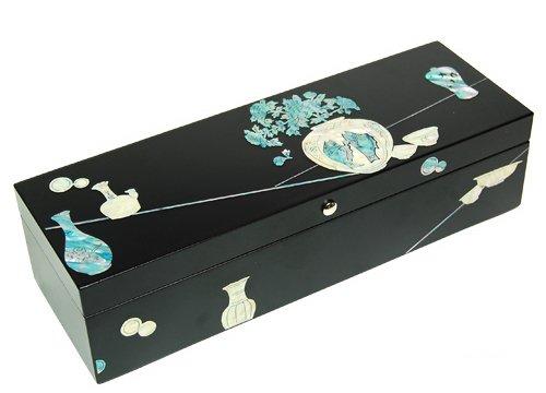 Boîte en bois pour stylos, bibelots, fait main, mère de perle cadeau, Porcelaine
