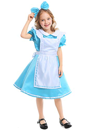 Kinder Mädchen Halloween Maid Kleid Kostüm Kinder Alice im Wunderland Cosplay Kostüm Blau S