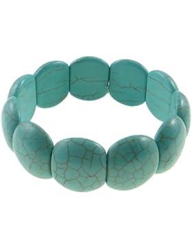 Türkis Edelstein Armband, natürlich, blau, 19x22mm, dehnbar