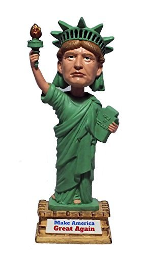 Premium Novelty President Donald Trump-Statue of Liberty Bobblehead Gag Gift for Men & Women by Militec Handpainted Innovative Present 7-Tall Figure with Sign Make America Great Again