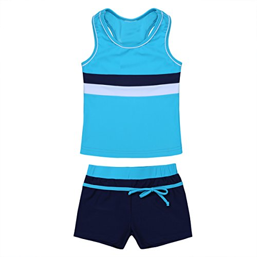 iiniim Little Girls' Kids Summer Two Piece Boyshort Tops Tankini Kids Swimsuit Swimwear Set