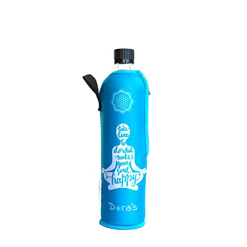 Dora´s Glasflasche mit Neoprenbezug 500 ml (Happy Yoga blau)