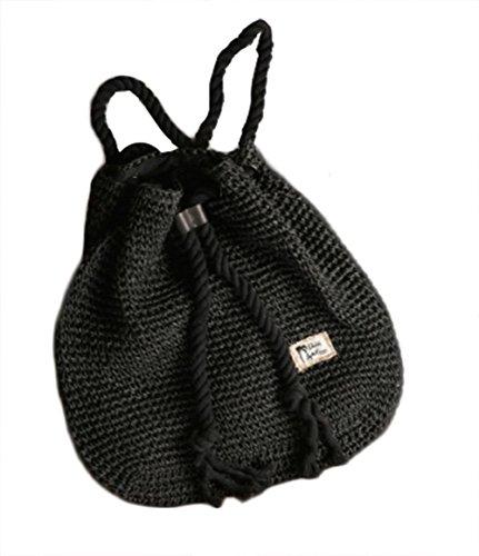 Stroh Rucksack Tasche Rattan Gras weben Frauen Schulter Mode Strand Reise Handtasche Shopping Tote , black -