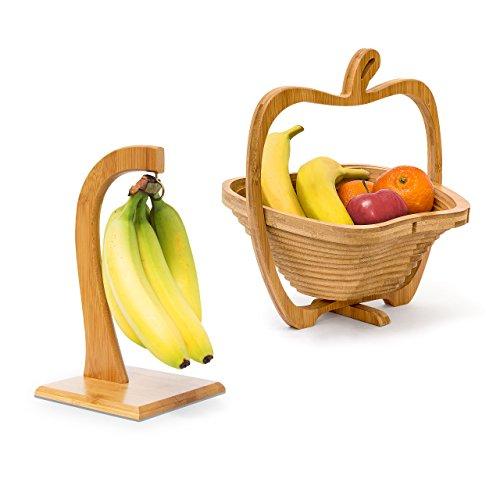 Für Camping Topf-halter (2 tlg Obst Set, Bananenhalter, Obstkorb, Obsthalter, Obstschale, Obstständer, Faltkorb, Bananenständer, Dekoschale, Holz)
