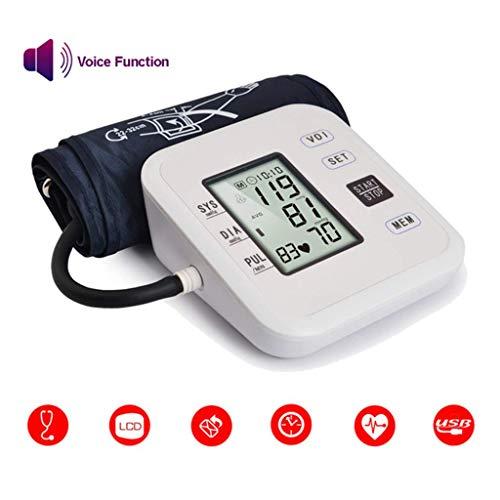 Monitor electrónico Inteligente de presión Arterial Brazo Superior Medidor de presión Arterial Sphygmomanometer Automático Pulsómetro, Full Automático Inteligente LCD Digital Heartbeat Measuring