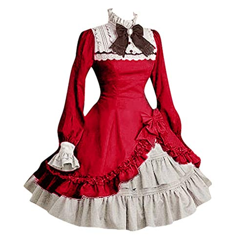 Strungten Frauen Lolita Gothic Kleid, Vintage Frauen Lace Langarm Bowtie Cosplay Kostüme Party Kleid mit Schleife (Herr Erdnuss Kostüm Frauen)