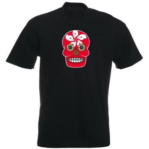 T-Shirt - Hongkong - Sugar Skull - Fahne - Herren - unisex Schwarz