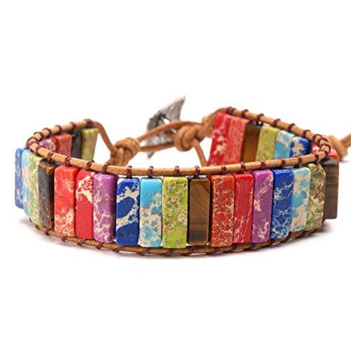 KANGLE Chakra 7 Bunte Naturstein gewebt Armband,einstellbar Lederarmband ethnischen Stil Schmuck