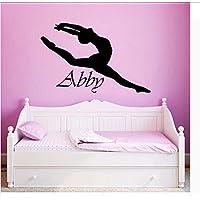 Wall Sticker Decal Vinyl Wall Sticker Custom Personalized Girls Name Decor Ballerina Acrobatics Ballet Dancer Gymnastics Wall Decal Poster Art 56x89cm