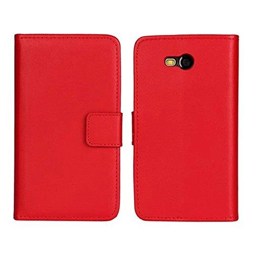 Lumia 820 Custodia,COOLKE [Rosso] Flip Protettiva Custodia Moda PU Pelle Stand Custodia Case Cover Per (Pronto Basamento Della Bandiera)