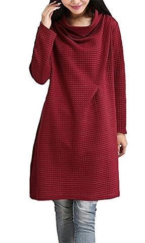 Femme Pull Sweatshirt – LATH.PIN Femme Sweatshirt Long Jumper Pull Robe à Col Bénitier Taille Unique (L, Rouge)