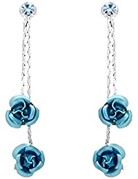 Glamorousky Rose Bleue Boucles D'Oreilles Avec Éléments Cristaux autrichien Bleu (918)