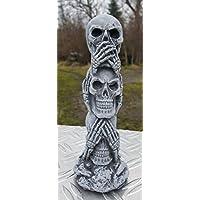 Steinfigur Totempfahl frostfest Nichts hören nichts sehen nichts sagen Totem Deko für Garten Aquarium