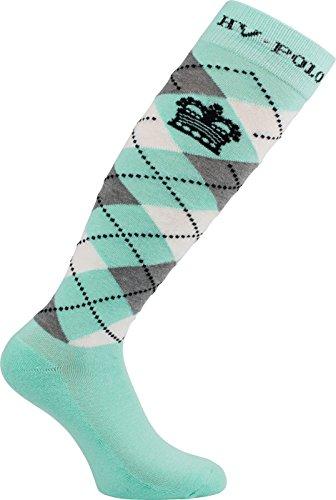 HV Polo Kniestrümpfe Reitsocken Argyle Socken, hohe Rutschfestigkeit, Baumwollmaterial, ideal für Das Tragen in Reitstiefel und Chaps (Pool Blue, 39-42)