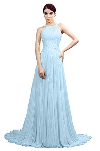 Promgirl House Edel Chiffon Traeger A-Linie Ballkleider Abendkleider Lang mit Schleppe Festkleider Damen 2015 Blau