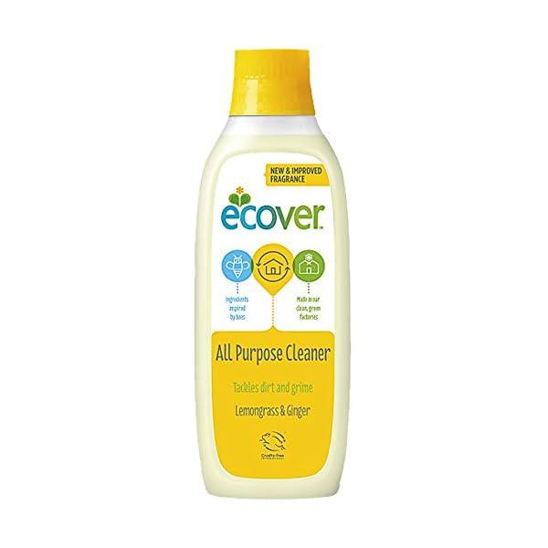 2 x ecover All Purpose Cleaner 1L 1 Litre - Lemon Grass & Ginger Scent - Eco Friendly Household Cleaner - Great for Ceramic Tiles, Kitchen worktops, Hardwood & Parquet Flooring. 2