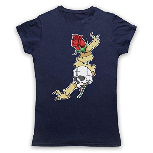 Skull & Rose Gothic Illustration Damen T-Shirt Ultramarinblau