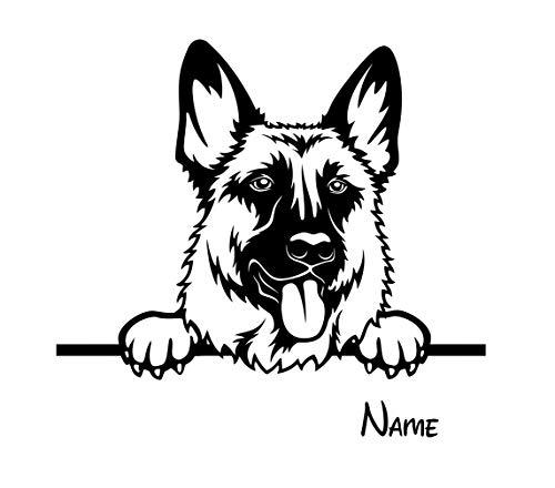 BlingelingShirts Auto Aufkleber Schäferhund Hund Plus Name Wunschname schwarz matt Wandaufkleber Wandtattoo Autoaufkleber