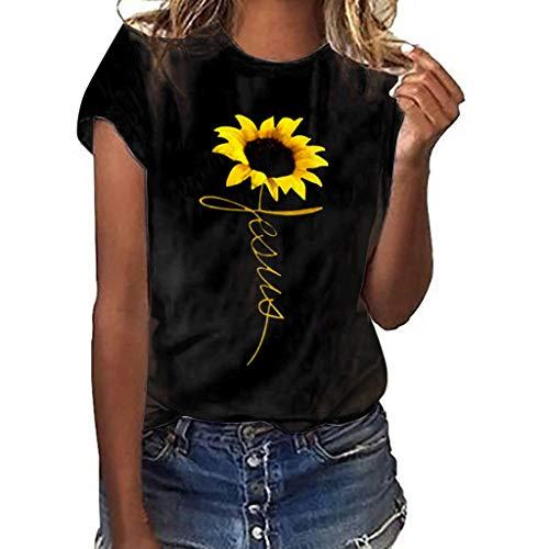 Frashing Damen T-Shirt Bluse Weiß mit Sonnenblume Druck Shirt Streetwear Tops Hemd Bluse Damen Sommer Schulterfrei Oberteile Langarmshirt Lose Casual Bluse Tops -