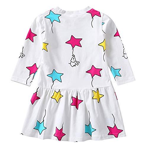 AchidistviQ Cute Star Print Casual Lange Ärmel Baumwolle Kid Mädchen lose Prinzessin Kleid Outfits, Baumwolle, weiß, 90 cm(2-3 Jahre) (Outfits Kid Cute)