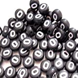 100pièces 6,5mm O Rond Plat Noir, des perles de lettre de l'alphabet–Kb0624