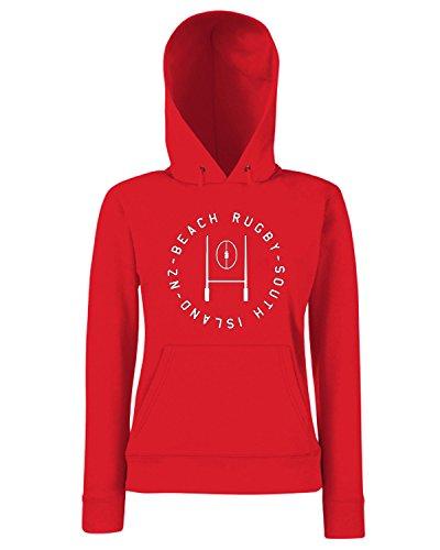 T-Shirtshock - Sweats a capuche Femme TRUG0161 ruggershirts beach rugby tshirt logo Rouge