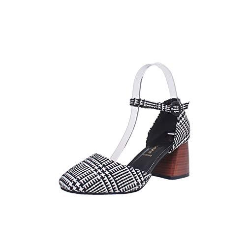 Sandali Primavera Estivi Donna con Tacco Cintura da Donna con Fibbie Wild Single Shoes Moda Casual Vintage Elegante Scarpe per Lavoro Affari Partito
