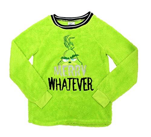 Grinch The Christmas Xmas Damen und Herren Plus Merry Whatever Sherpa Top Pyjama Nachtwäsche Shirt Pullover - Grün - X-Large - Green Christmas Pyjama