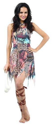 els Damenkostüm bunt Einheitsgröße (Dschungel Königin Kostüm)