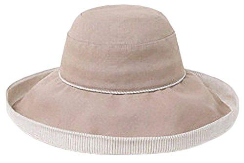 i-select Baumwolle Leinen Sonnenhut Stripe-Futter Breite Krempe UV Schutz (Kamel) (Sonnenhut Stripe)