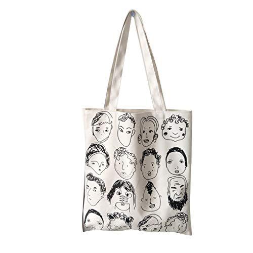 Arichtop Cartoon-Skizze-Entwurf Frauen-Segeltuch-Schulter Crossbody-Tasche Mädchen im Freien Einkauf Messenger Bag