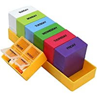 Preisvergleich für Queta Bunt Medikamentenbox 7 tage 4 fächer wochentage Pillendose pillenbox woche Tablettenbox tabletten wochenbox...