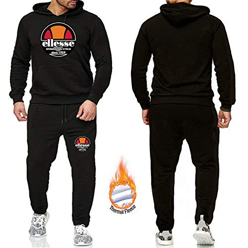 Phciy Herren Ellesse Jogging Anzug Kapuzenpullover + Lange Hosen Hip Hop Sweatshirts Trainingsanzug Hoodie Gym Jogger Anzug Casual Pullover,Schwarz,M