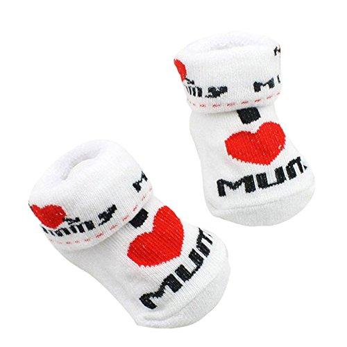 FNKDOR Baby Socken Neugeborenen Schuhe Liebe Papa Mom Söckchen (I ❤️ MUM)