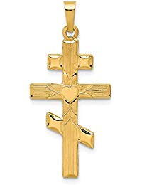 14k Yellow Gold Eastern Orthodox Cross Religious Pendant Charm Necklace Fine Jewelry For Women Gift Set