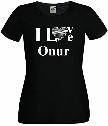 T-Shirt I Love Onur mit einer Strassaplikation / Strassherz Weiß