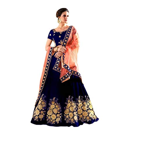 PD Fashion Women's Tappeta Silk Lehenga Choli (Blue,Free Size, Semi-Stitched)