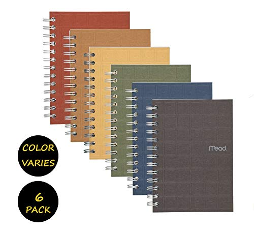 Mead Spiral Notebook, College liniertes Papier, 80 Blatt, 17,8 x 12,7 cm Recycling, verschiedene Farben, 6 Pack (45186) - Paket enthält Universal Brieföffner 6 Pack Bundle (Blatt Mead 80 Notebook)