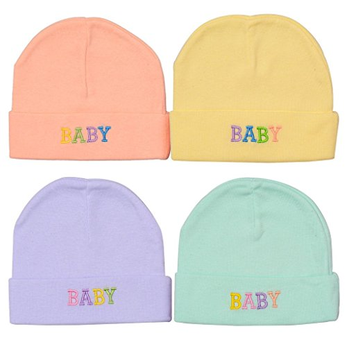 EIO® Soft Cotton Caps for Baby Boys and Girls - Multicolor (Pack of 4)