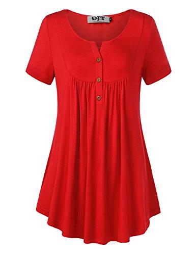 DJT Damen T-Shirt Kurzarmshirt Plissee Front Tunika Tops Sommershirts mit Knöpfe Rot L