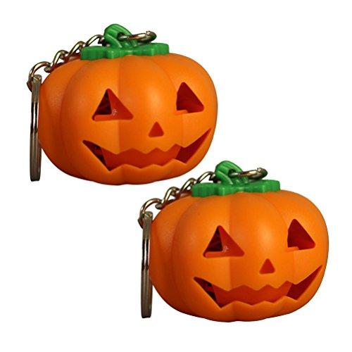 BESTOYARD Halloween Kürbis LED Schlüsselanhänger Light-up Schlüsselanhänger Halloween Spielzeug Geschenk mit Sound, Packung mit ()