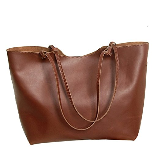 Hermiona Ladies' Genuine Leather Handbag Shoulder Bag Tote Braun