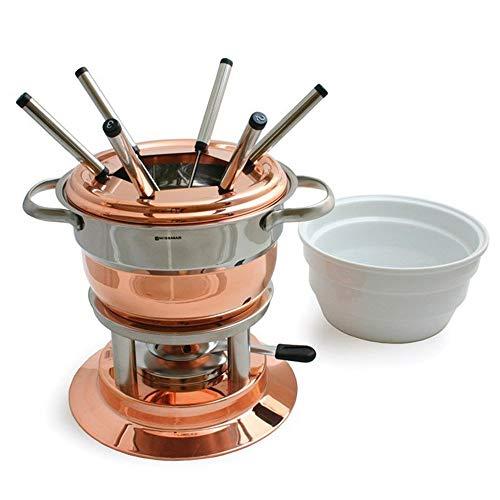 Lausanne - Juego de fondue (11 piezas, acero inoxidable, cerámica, fondue de queso, fondue de carne, fondue de chocolate, incluye tenedores)