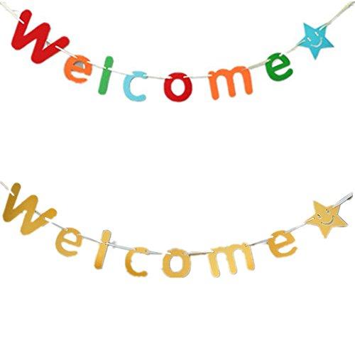 Fully 2stk. Willkommen Welcome Schrift String Girlande Kinder Party Hochzeit Feier Dekoration (Welcome (bunt,golden))