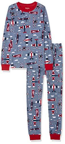 Hatley Jungen Organic Cotton Long Sleeve Printed Pyjama Sets Zweiteiliger Schlafanzug, Blau (Paper Planes 400), Jahre (Herstellergröße: 12)