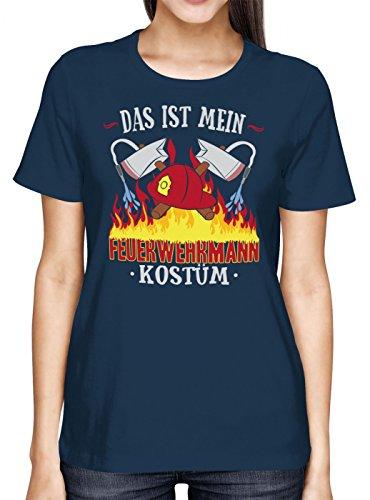 Feuerwehrmann Günstige Kostüm - Kostüm Feuerwehrmann Premium T-Shirt | Verkleidung | Karneval | Fasching | Frauen | Shirt, Farbe:Dunkelblau (Navy L191);Größe:S